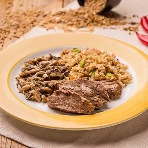 33 – Arroz 7 cereais + filé mignon assado + mix de cogumelos