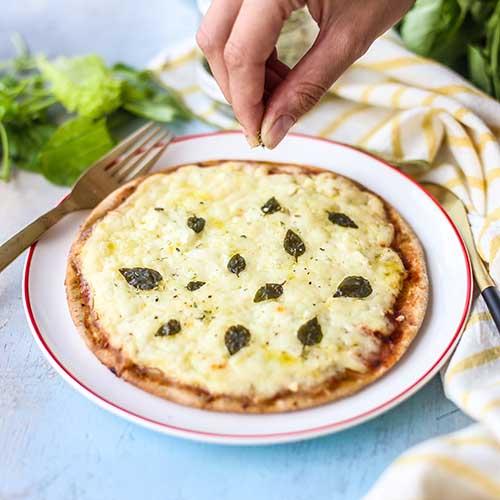 Pizza 4 Queijos – massa de batata doce