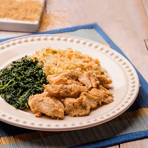 19 – Frango empanado + arroz á grega + espinafre refogado