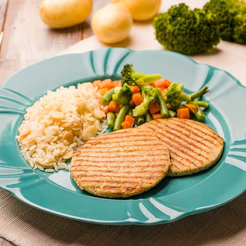 22 – Arroz com amêndoas + hamb. de frango + mix de legumes