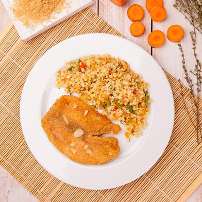 15 – St petter empanado + Arroz integral á grega