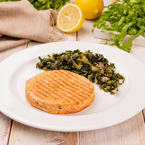 3 – Hambúrguer de salmão + Escarola (low carb)