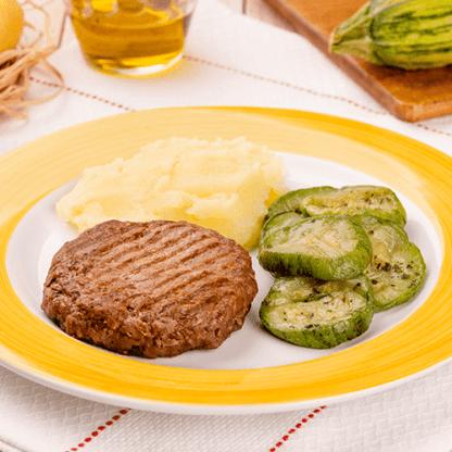 6 – Hambúrguer de carne + Purê de batata + Abobrinha italiana