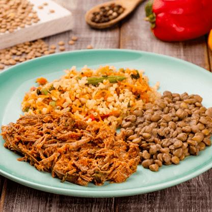 12 – Carne Desfiada + Arroz integral a grega + Lentilha