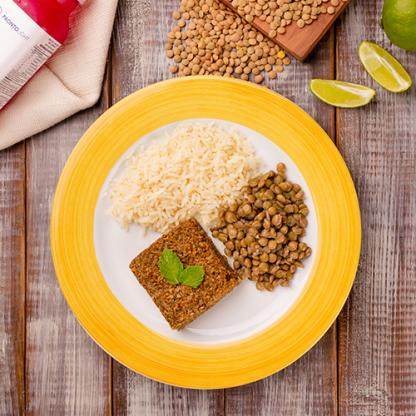 10 – Kibe + arroz branco + lentilha