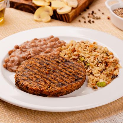 3 – Hambúrguer de quinoa + arroz 7 cereais + feijão carioca