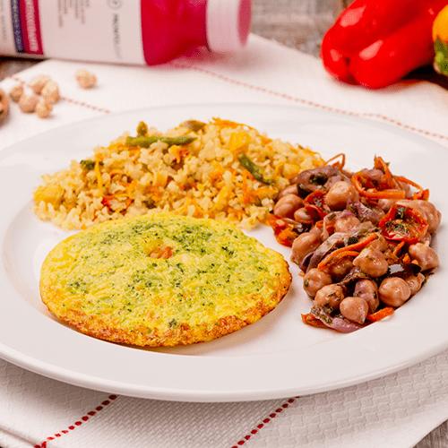 4 – Omelete +grão de bico ao toque balsâmico + arroz integral á grega