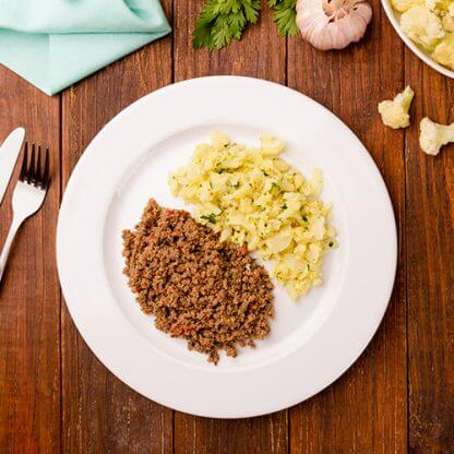 2 – Carne moída + arroz de couve-flor (low carb)
