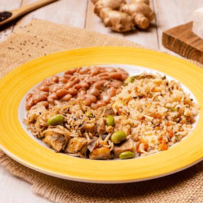11 – Tofu grelhado com moyashi + arroz 7 cereais + feijão carioca