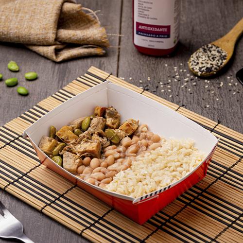 Express – Tofu grelhado com moyashi + arroz integral + feijão carioca