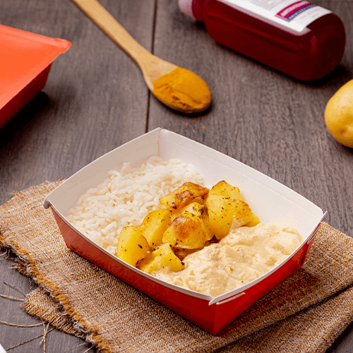 Express – Strogonoff de frango light + arroz branco + batata sauteé