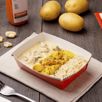 Express – Strogonoff de carne light + arroz integral + batata sauteé