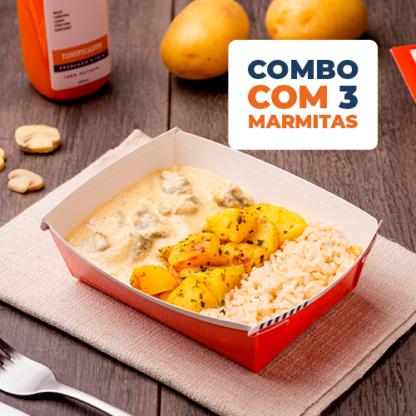 Combo Express 3 uni – Strogonoff de carne light + arroz integral + batata sauteé