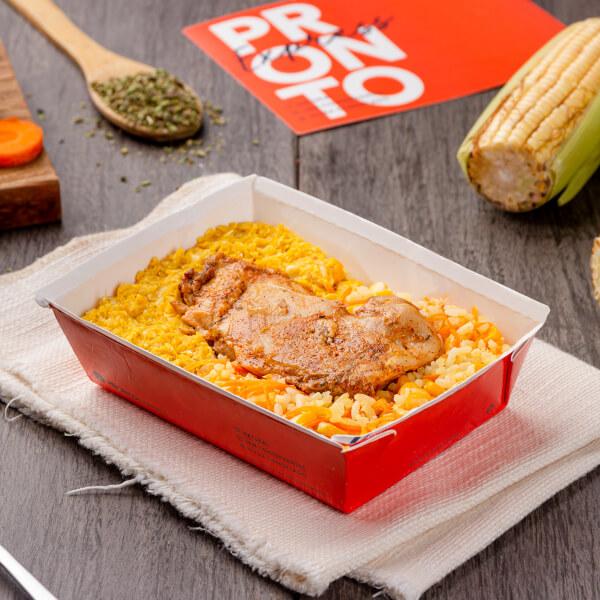 Express – Sobrecoxa de frango + arroz com cenoura e milho + creme de milho