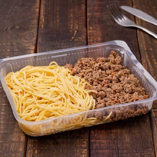 Nosso PF- Prato 4- Macarrão alho e óleo + Carne moída