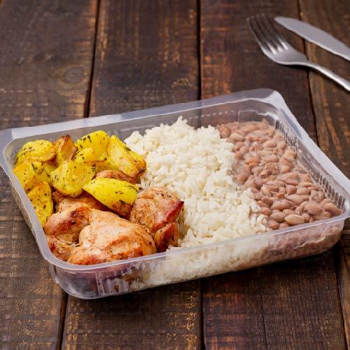 Nosso PF- Prato 5- Sobrecoxa de frango +Feijão carioca +Arroz branco + Batata Sauté